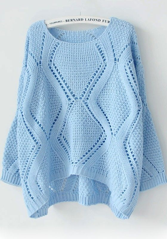 Blue Plain Hollow-out Round Neck Pullover Sweater