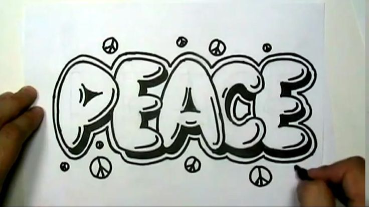 How to draw PEACE in Graffiti Letters - Write Peace in Bubble Letters