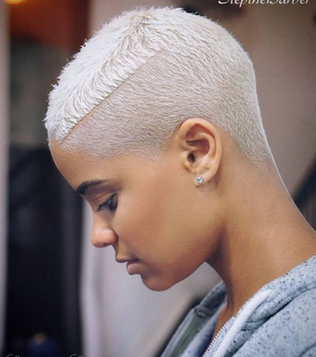 This single-edge platinum pixie cut. | 21 Fierce AF Haircuts That Will Look Good On Anyone