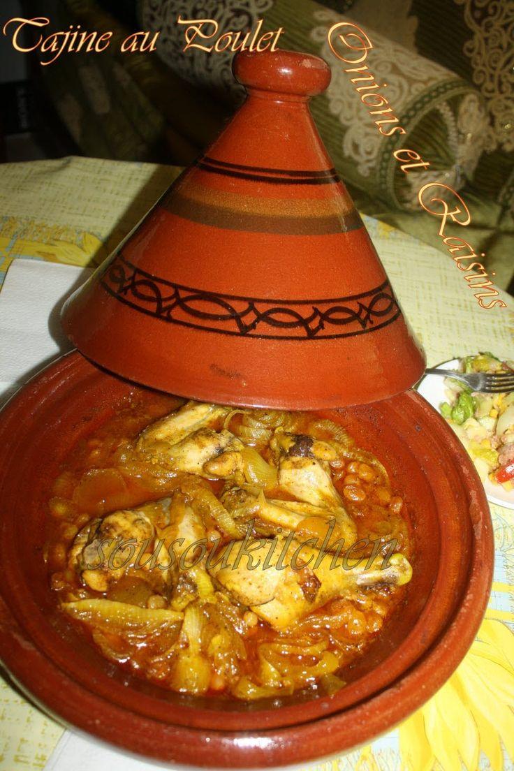 Tajine au Poulet et Raisins/Chicken Tagine with Onions and Raisins-Souso...