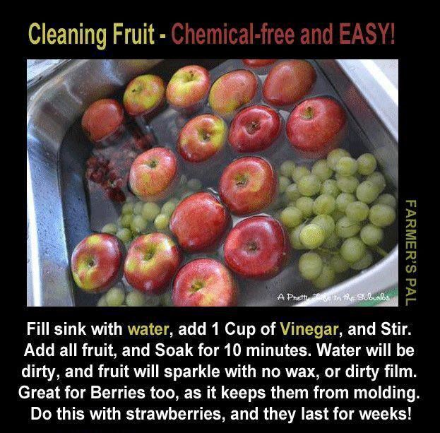 Washing fruit and vegetables purchased or home grown is vital. Not only does the vinegar water remove the pesticides and preservatives applied in processing, it repels insects lurking in the food and helps make berries last longer.
