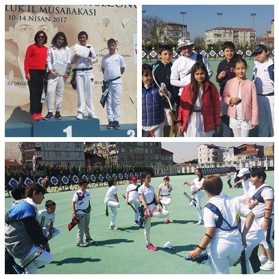 İstanbul okullararası okçuluk müsabakasında minik kızlar kategorisinde okulumuz öğrencileri İstanbul 4.sü olmuştur. Gün boyu süren yarışmaların ardından yorgun düşün öğrencilerimiz büyük bir gayret içerisinde pes etmeyip zorlu rakiplerini geride bırakarak kürsüde yer bulmayı başardılar. Emeği geçen öğretmen ve öğrencilerimize teşekkür eder, başarılarının devamını dileriz.