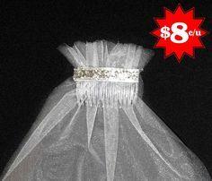 velos de tul con peineta para despedida de soltera y bodas