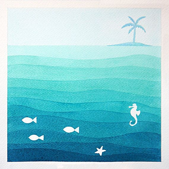 Print. Seascape. Desert island - print of marine watercolor painting. Nautical kids illustration of sea, island with a palm tree, fish and seahorse. This