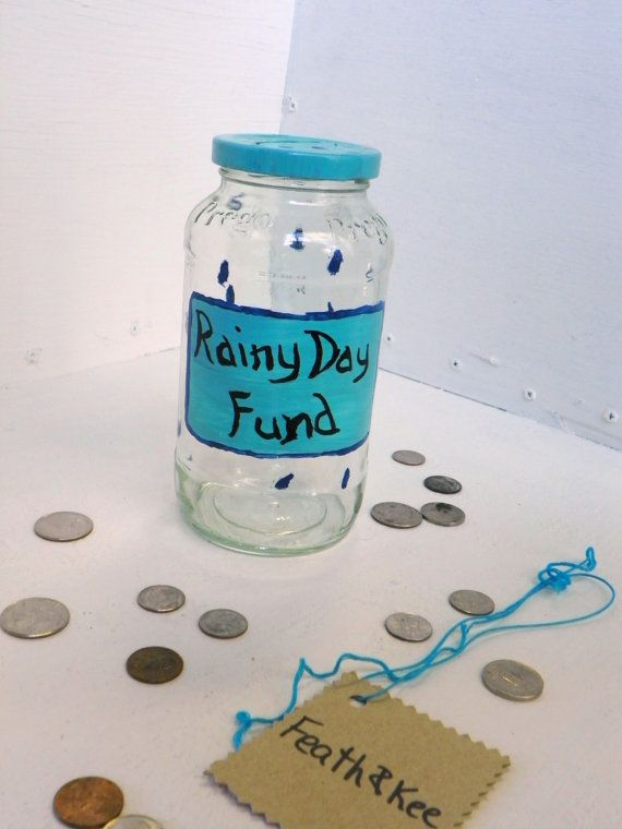 Rainy Day Fund Change Jar Money Jar Tip Jar by FeathandKee on Etsy