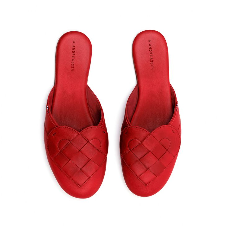 Done!     Handmade ladies red leather slippers by A. ANDREASSEN