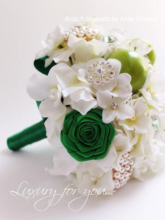 Silk Hydrangea Brooch #Bouquet Bridal Bouquet #Wedding Brooch Bouquet #Green Jewelry #Apples Bouquet Crystal Accents Bridesmaid Bouquet Wedding. This listing is for a Deposit ... #love #instagram #wedding #fashion #beautiful #bouquet #green #apples