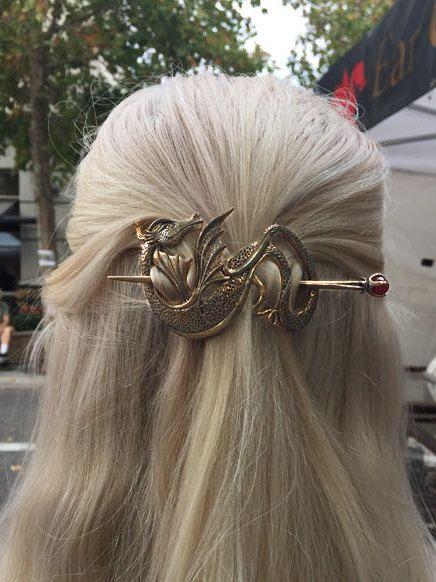 Dragon Hair Barrette Renaissance Hair Accessories by martymagic