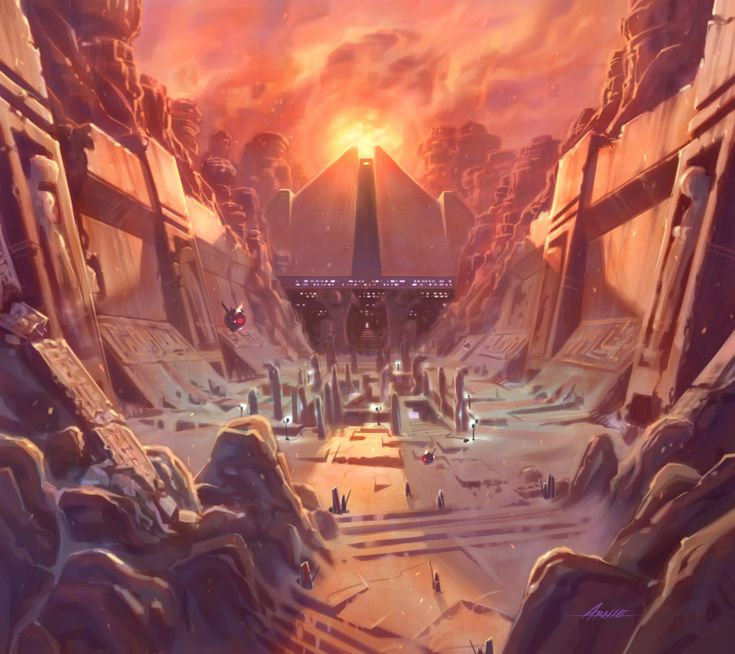 Concept art for planet Korriban, grave-world of the Sith