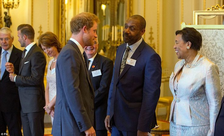 Prince Harry greets Sir Lenny Henry and Baroness Scotland of Asthal, secretary general of ...