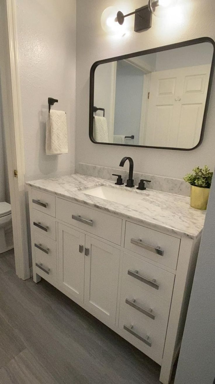 Hall Bathroom, Upstairs Bathrooms, Shiplap Wall In Bathroom, Bathroom Vanity With Drawers, Bathroom With Wood Floor, Bathroom Vanity Mirrors, Paint Bathroom Cabinets, Basement Bathroom Ideas, Marble Countertops Bathroom
