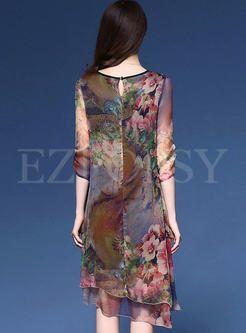 Vintage Multi Print Loose Dress