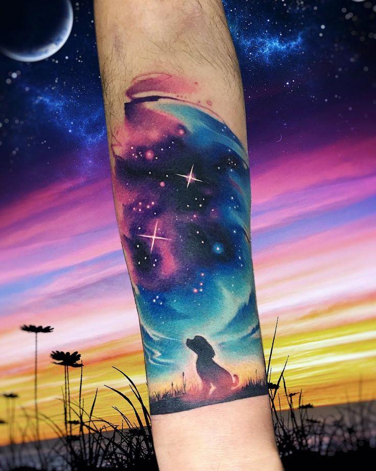 Dogxl AB  #tattoo #tatuaje #galaxy #space #espacio #galaxia #colors #star #dog #ab #adrianbascur #nebulosa #cielo #planet