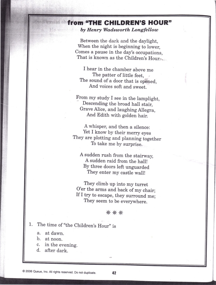 Poem - The Children's Hour by, Henry Wadsworth Longfellow ...