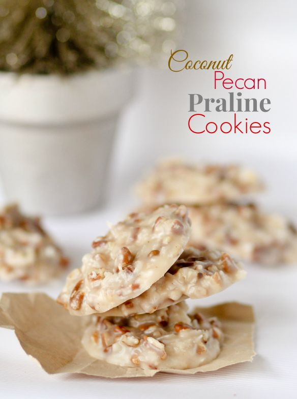 No Bake Coconut Pecan Praline Cookies - these are SO easy and taste AMAZING!!