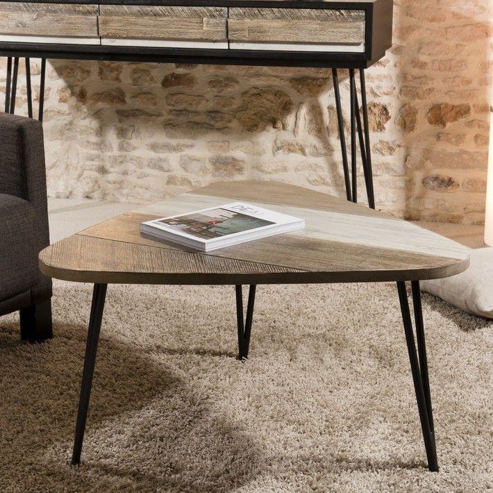 Table Basse En Bois Massif Et Ses Pieds En Metal Pour De La Modernite Table Basse Bois Table Basse Table De Salon