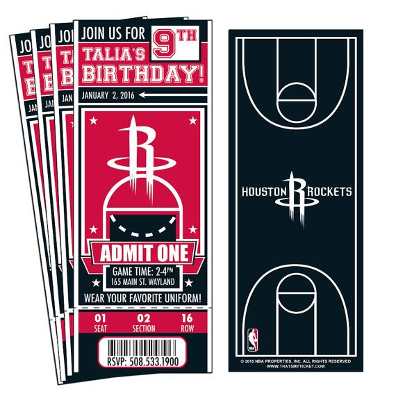12 houston rockets custom birthday party ticket invitations officially licensed by nba. Black Bedroom Furniture Sets. Home Design Ideas