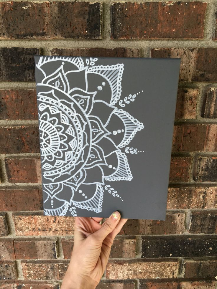 8 by 10 Dorm room Gray and white Henna design Custom colors available! Message me with any requests or questions. To see this canvas in black and white, click here!:https://www.etsy.com/listing/292395817/wall-decor-mandala-canvas-boho-canvas