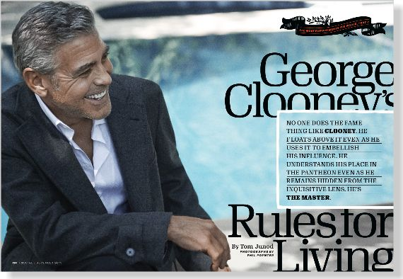 George Clooney interviewed by Tom Junod. Clipped from Esquire using Netpage.