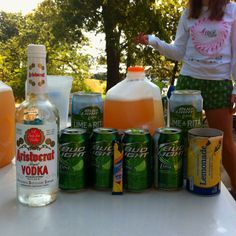 Perfect Summer Brew Recipe - 6 (8 oz.) lime-a-ritas, 4 bud light limes, one can of frozen lemonade, one pink lemonade or raspberry lemonade packet, one can of vodka. Makes one gallon!