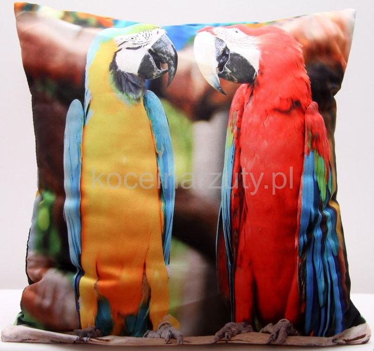 3D efekt dekoracyjna poszewka brązowa w kolorowe papugi