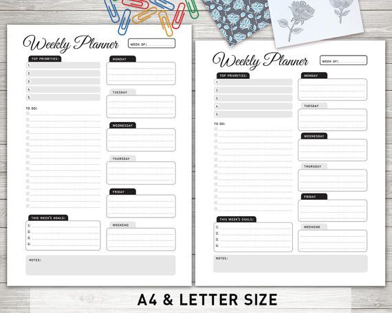 Weekly Planner Printable Weekly Organizer Weekly by KlampDesign