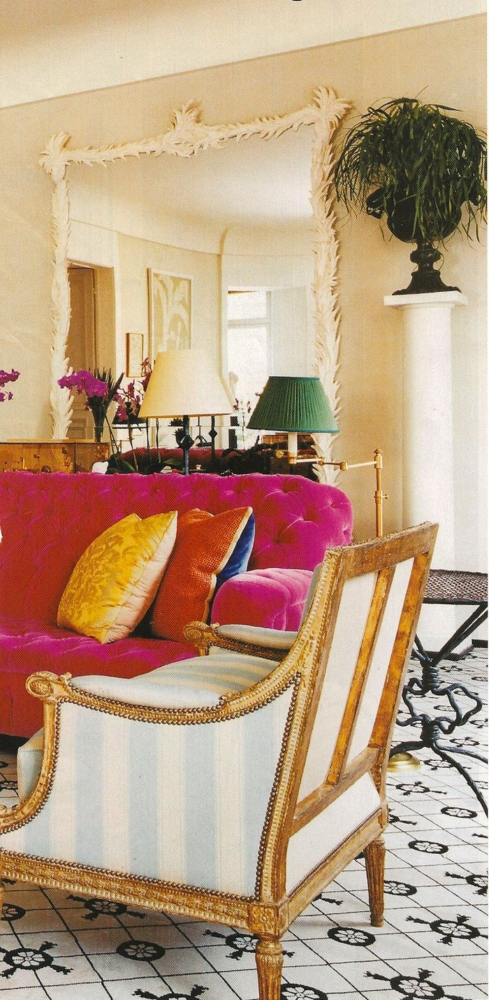 Jacques Grange pink tufted sofa
