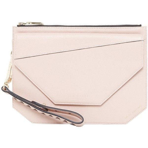 Ted Baker Colour By Numbers Cassis Leather Clutch Bag ($165) ❤ liked on Polyvore featuring bags, handbags, clutches, nude pink, pink clutches, leather handbags, pink wristlet, evening clutches and nude clutches