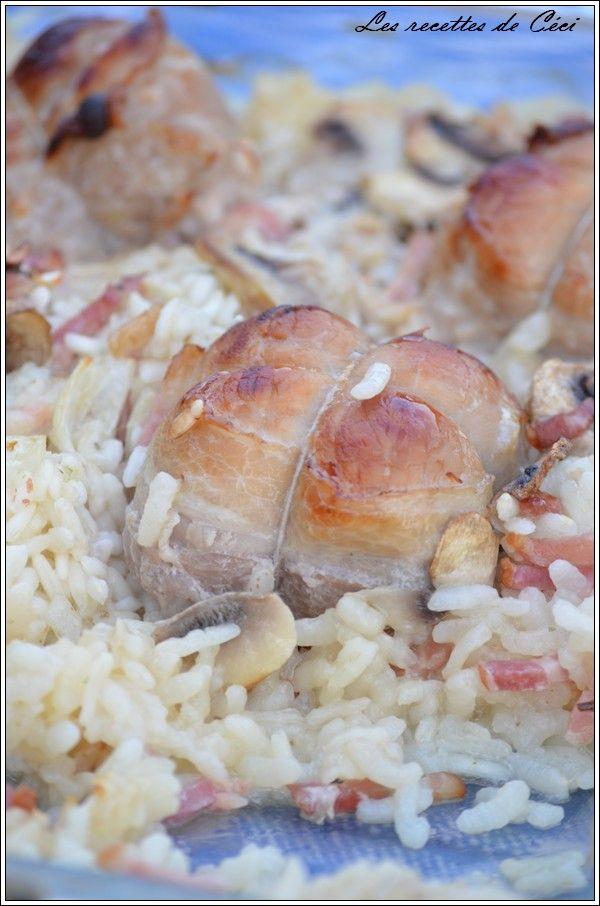 Paupiettes de porc et riz aux champignons cuit au four