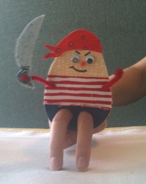 Pirate Finger Puppet - cardboard and fabric, felt or fun foam, pipe cleaner arms.