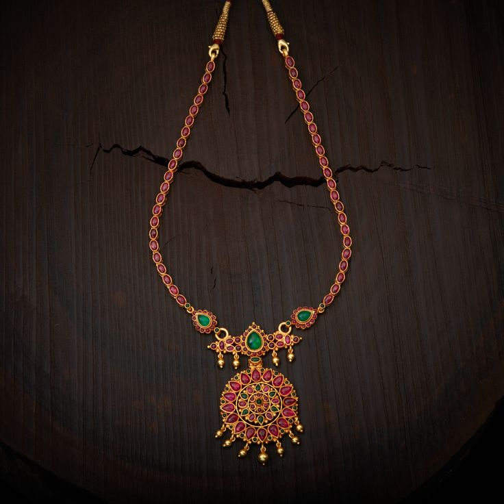 South Indian Traditional Silver Temple Necklace, Studded with Ruby Green spinal stones made in Pure Silver.