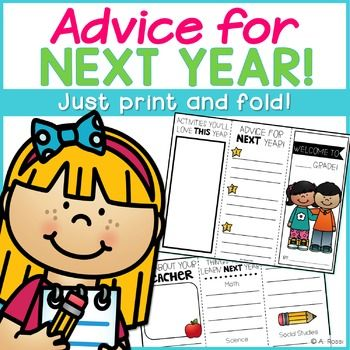 This End of the Year brochure is a great way to end the school year. Your current students will create these brochures for your new students. They'll be filled with a sneak peek into new curriculum, advice, and wisdom your new students will love! My students love creating these year after year!