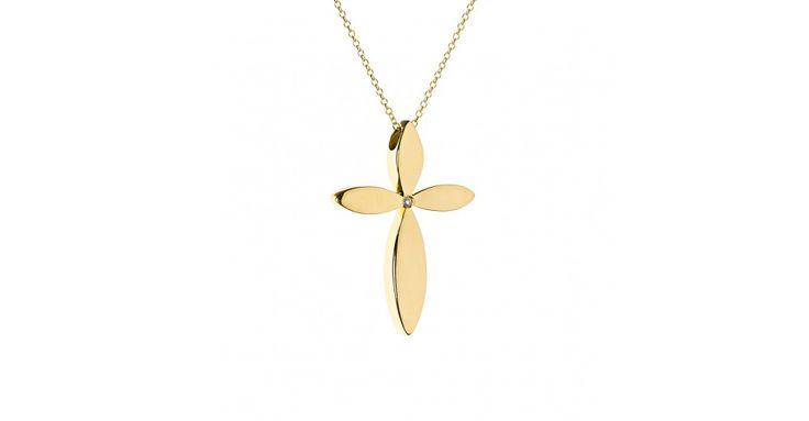 Σταυρός με διαμάντι ZH14076 Σταυρός γυναικείος από χρυσό 18 καρατίων με διαμάντι.