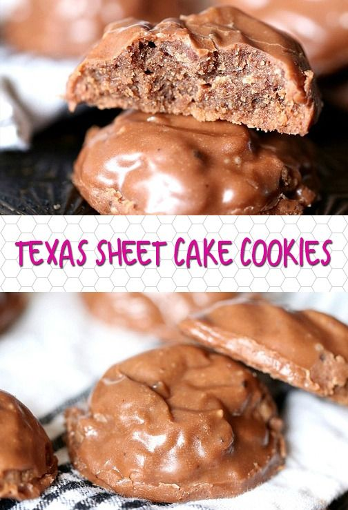 Texas Sheet Cake Cookies: The best chocolate icing in the world! A fudgy cookie topped with the classic sheet cake icing.