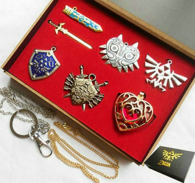 Set of 11 pcs Legend of Zelda Metal Shield Sword Blade Skyward Pendant Necklace