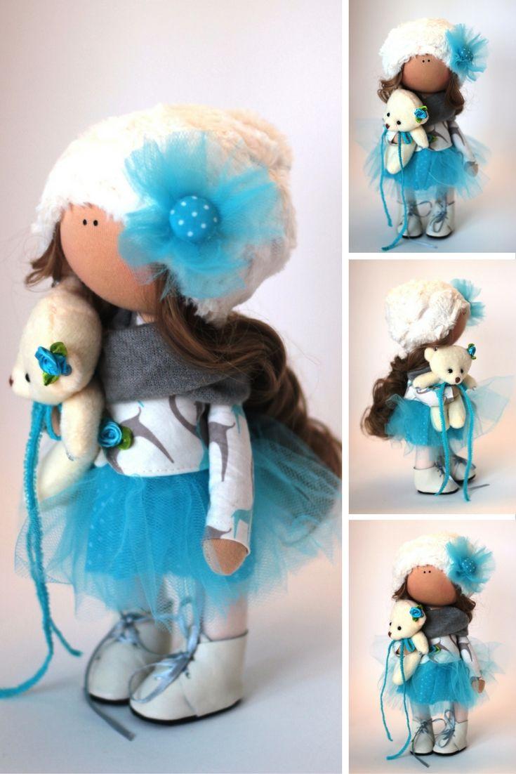 Tilda doll Fabric doll Summer doll handmade pink color Soft doll Cloth doll Baby…