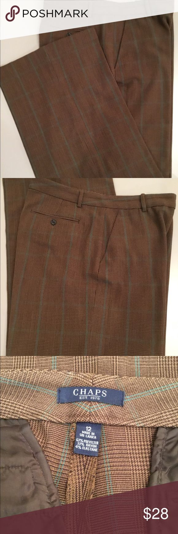 """Chaps brown Slacks Chaps brown with slight green stripes, Slacks. Size 12.   6"""" front zipper Double button closure. 2 front and 2 back pockets. Inseam 32"""" Chaps Pants"""