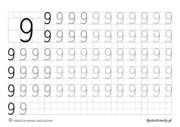 Cyferki dla dzieci - szablon do nauki pisania 9 - matematyka