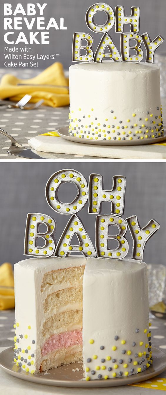 """Make a show-stopping baby gender reveal cake with Wilton Easy Layers Pan set!  Just tint 1 of the 5 layers in pink or blue and when you cut into the cake you'll make the surprise reveal!  Take this baby shower cake to next level with an """"Oh Baby"""" gumpaste marquee tinted with Wilton Color Right in gender neutral shades of grey and yellow to make the baby gender really pop!"""