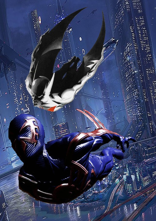 """Batman Beyond by Alex Ross inserted into a Spider-Man 2099 shot from the """"Shattered Dimensions"""" game. 'Shopped mashup by Lee Homer (*stick-man-11 on deviantart)."""