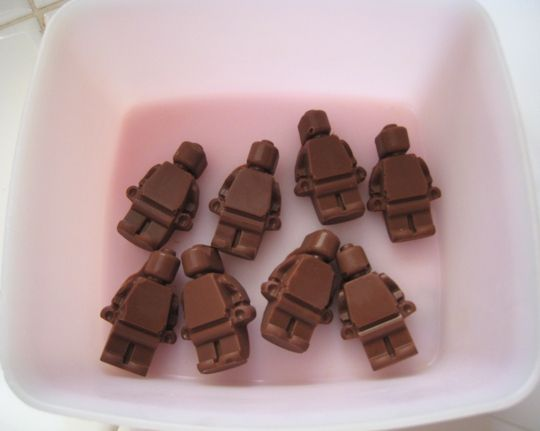 Chocolate Lego Minifigures (use the ice cube mold from Lego website)