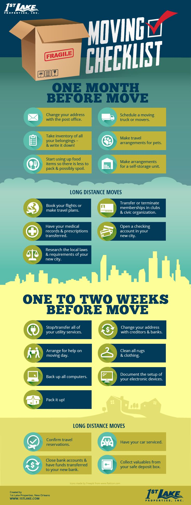 Moving isn't nearly as hard if you have a plan. This new apartment moving checklist infographic has you covered in the months and weeks leading up to your move!