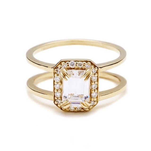 Anna Sheffield Attelage Emerald-Cut Diamond Ring