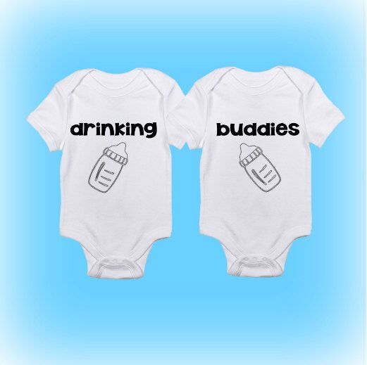 Funny Onesies - Cute Onesies - Twin Onesies - Drinking Buddies Onesies - Baby Boy - Baby Girl - Baby Onesies - Baby Clothing - Gift for Baby by ShowerTimeBabyWear on Etsy https://www.etsy.com/listing/243218559/funny-onesies-cute-onesies-twin-onesies