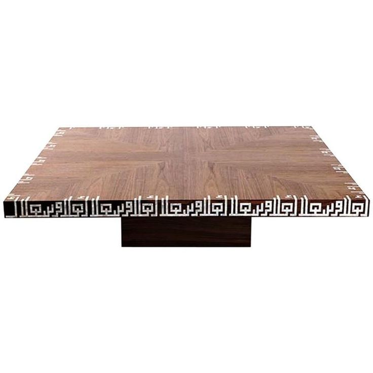 Calligraphy Low Coffee Table, Walnut Coffee Table with Mother-of-Pearl Inlay 1