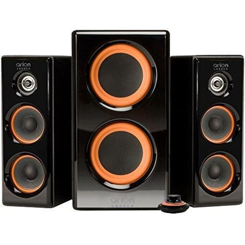 Arion Legacy AR506 AC Powered Speaker System with Dual Subwoofers & Desktop Controller for MP3 PC Game Console & HDTV 100 Watts Piano Black Retail Pack