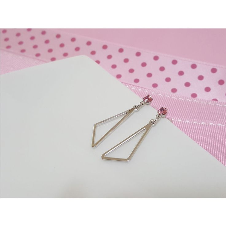 Korean Fashion Jewelry New Pink Cubic Triangle Earring for Women Girls Ladies #Rielar #Stud