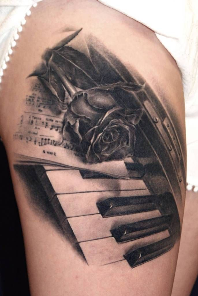 2017 trend Tattoo Trends - Nice Rose With Amazing Piano Keys Tattoo Design Idea...