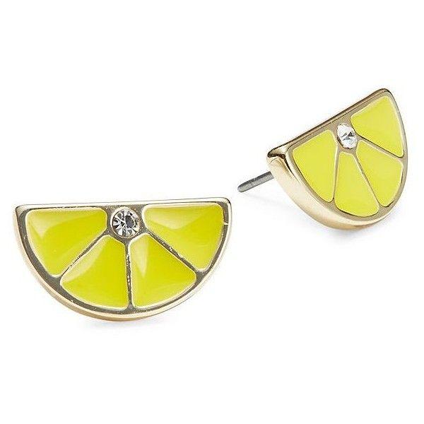 A.B.S. By Allen Schwartz Lemon Slice Stud Earrings ($25) ❤ liked on Polyvore featuring jewelry, earrings, lemon, post back earrings, abs by allen schwartz, stud earrings, nickel free jewelry and abs by allen schwartz jewelry