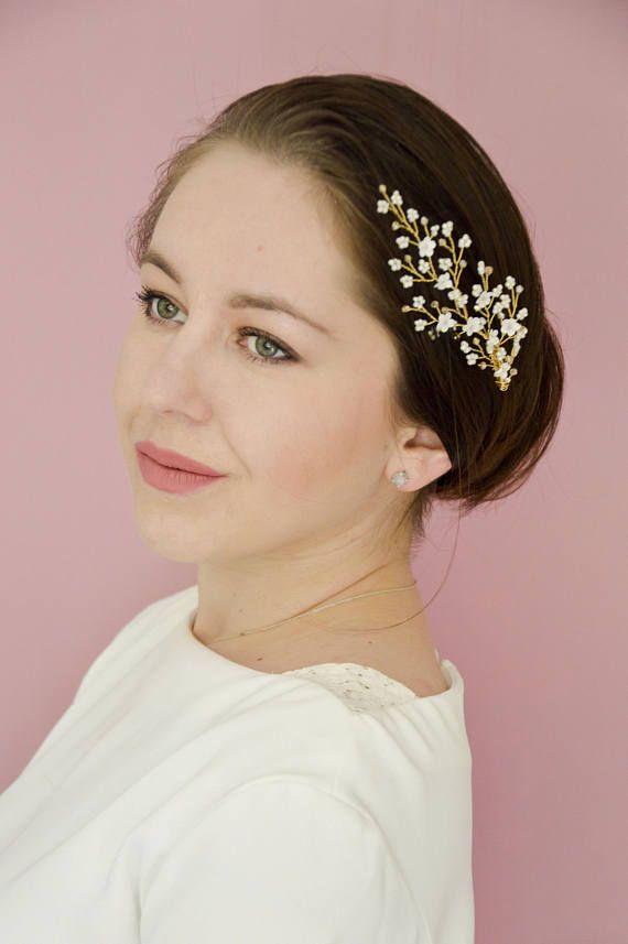 Bridal Hair Comb  Bridal Hair Accessories  Cherry Flowers
